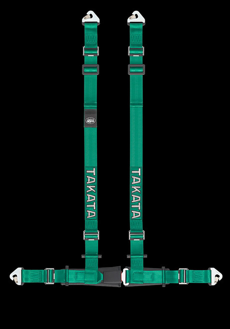 """Street Oriented 4 point harness 2"""" Shoulders, 2"""" Lap belts with Pull-up adjusters Street Legal Snap-on hardware Available in Green or Black"""