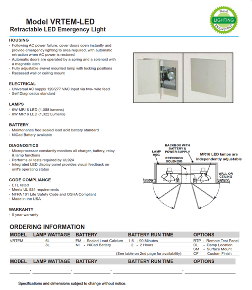 ... Retractable LED Emergency Light-Following AC power failure cover doors open instantly and provide ...  sc 1 st  Value Engineered Lighting & Retractable LED Emergency Light-Following AC power failure cover ...