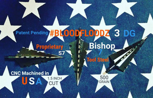 SOLD OUT - THANK YOU!!! (PRE-ORDER ONLY EXPECTED SHIP DATE JUNE 2018) 500 GRAIN PROPRIETARY BISHOP S7 TOOL STEEL 1.5 INCH CUT #BLOODFLOODZ 3 DG