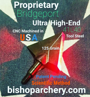 ONE TEST HEAD - 125 GRAIN PROPRIETARY BRIDGEPORT 41L40 TOOL STEEL SCIENTIFIC METHOD