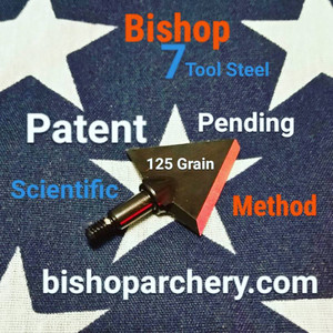 SOLD OUT (PRE-ORDER ONLY) EXPECTED SHIP DATE AUGUST 2018... ONE TEST HEAD - 125 GRAIN PROPRIETARY BISHOP S7 TOOL STEEL SCIENTIFIC METHOD