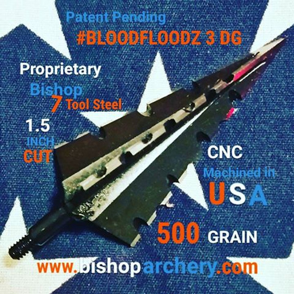 SOLD OUT - THANK YOU!!! (PRE-ORDER ONLY EXPECTED SHIP DATE JUNE 2018) ONE TEST HEAD 500 GRAIN PROPRIETARY BISHOP S7 TOOL STEEL NON-VENTED 1.5 INCH CUT #BLOODFLOODZ 3 DG