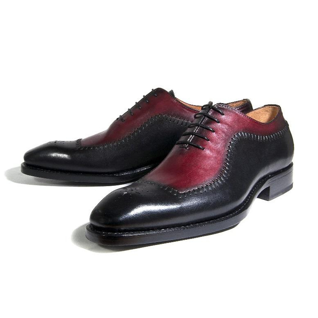 Ugo Vasare- Barnes Perforated toe  Lace up- Burgundy