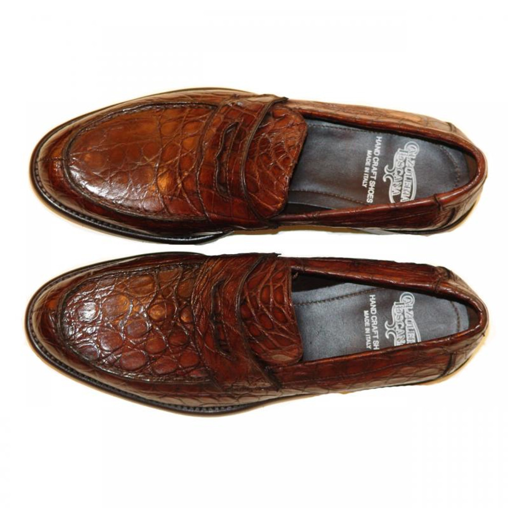 Pelle Line Exclusive 8871 Wood Crocodile Penny Loafer With Lug Sole