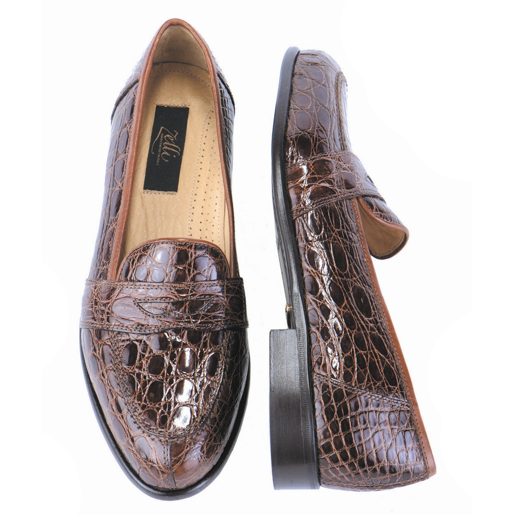 Zelli Palm Beach Crocodile Slip On Cognac