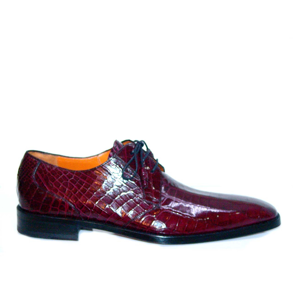 Mezlan 3173A Full Baby Alligator Plain Toe Burgandy