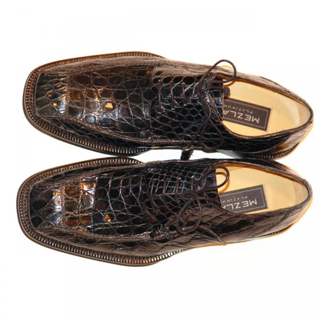 Mezlan 4914 Crocodile Lace Up Dark Navy