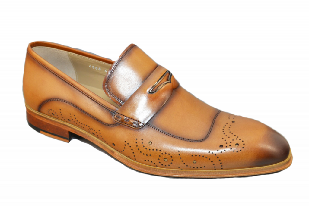 Corrente 4568 Perforated toe Loafer -Tan