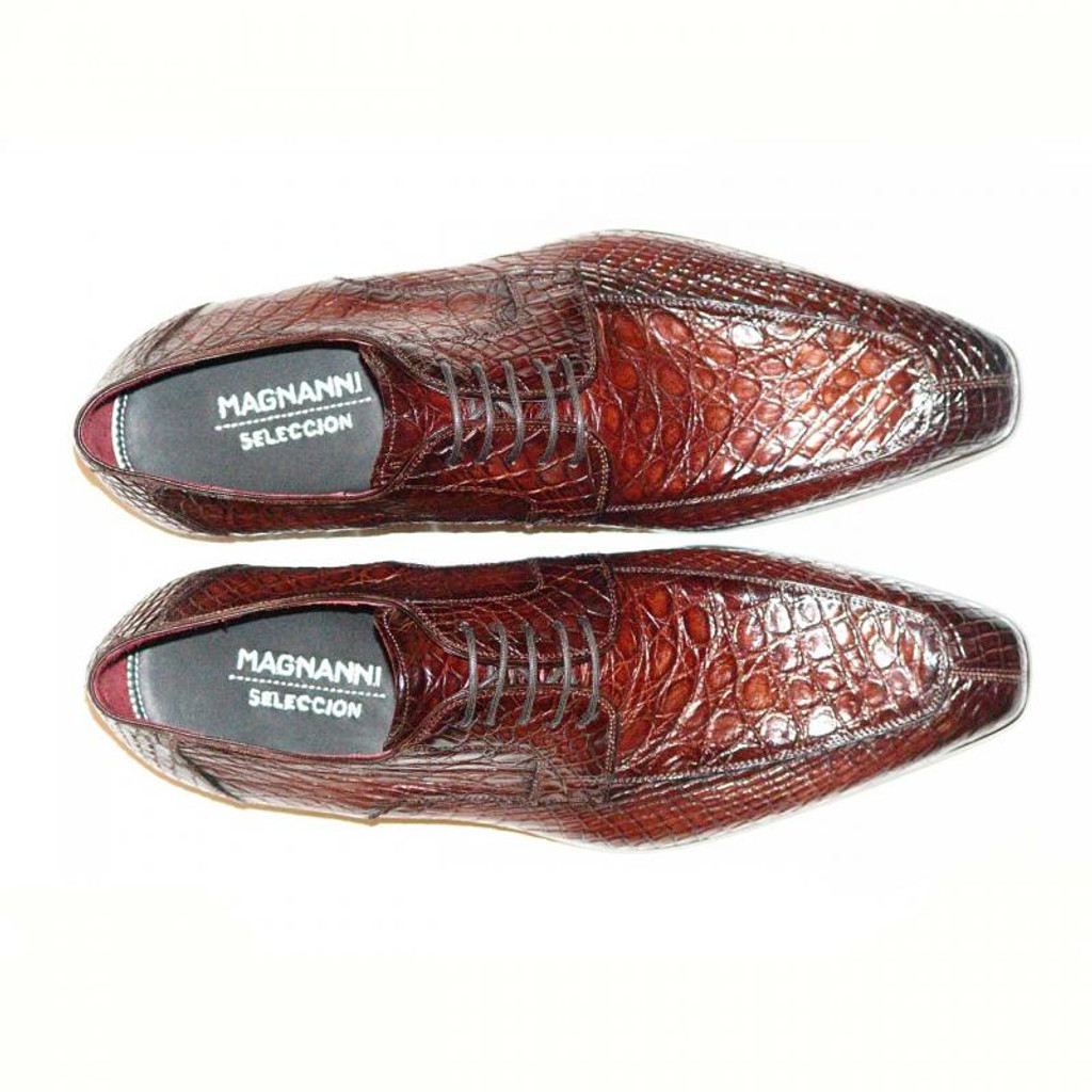 Magnanni Pascual Hand Burnished Antiqued Genuine Crocodile Caoba