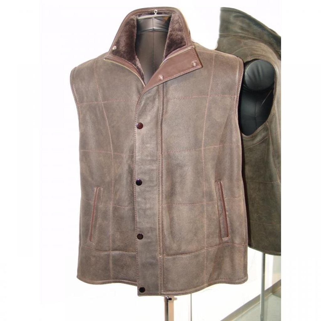 Pelleline Shearling Vest Brown