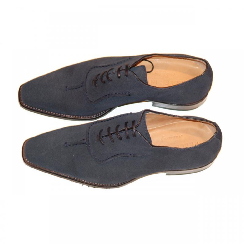 Pelle Line Exclusive 729 Design Toe Lace Up Navy Suede