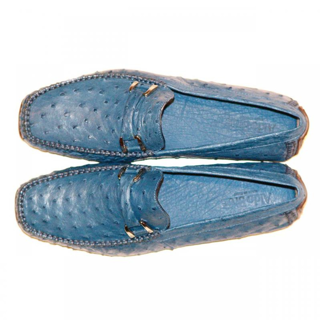 Aldo Brue Andrea Blue Genuine Ostrich Driving Shoes