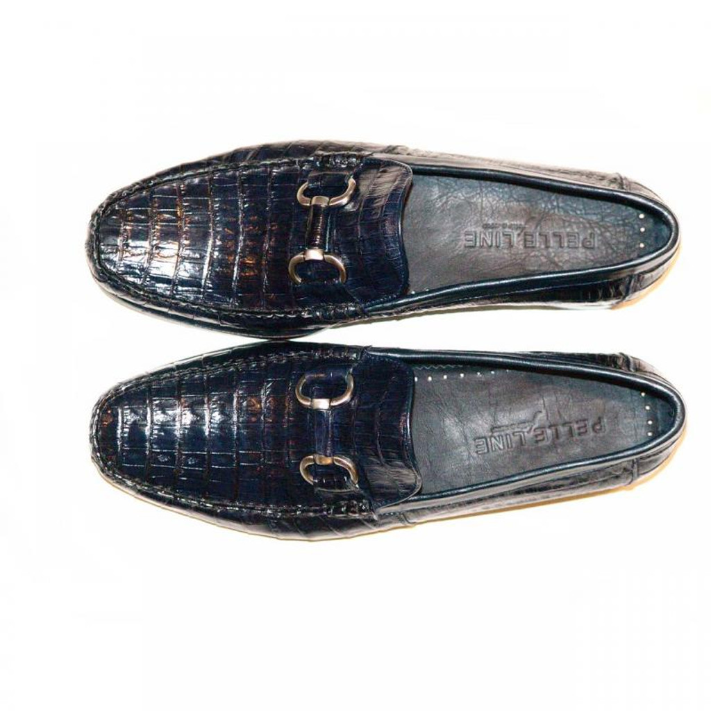Pelleline Massimo Dark Navy Soft Alligator Loafer With Bit Buckle
