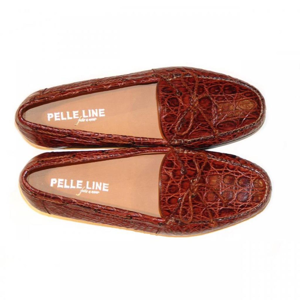 Pelleline Ganzo Rust Crocodile Low Cut Loafer With Bow