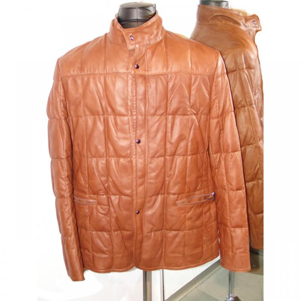 Pelleline Goose Down 3/4 Leather Jacket
