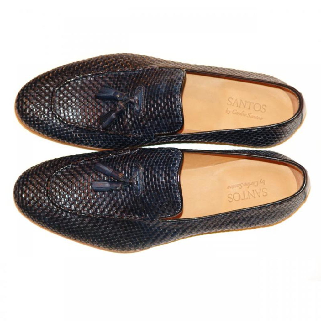Pelle Line Exclusive Rimini Hand Woven Tassel Loafer Navy