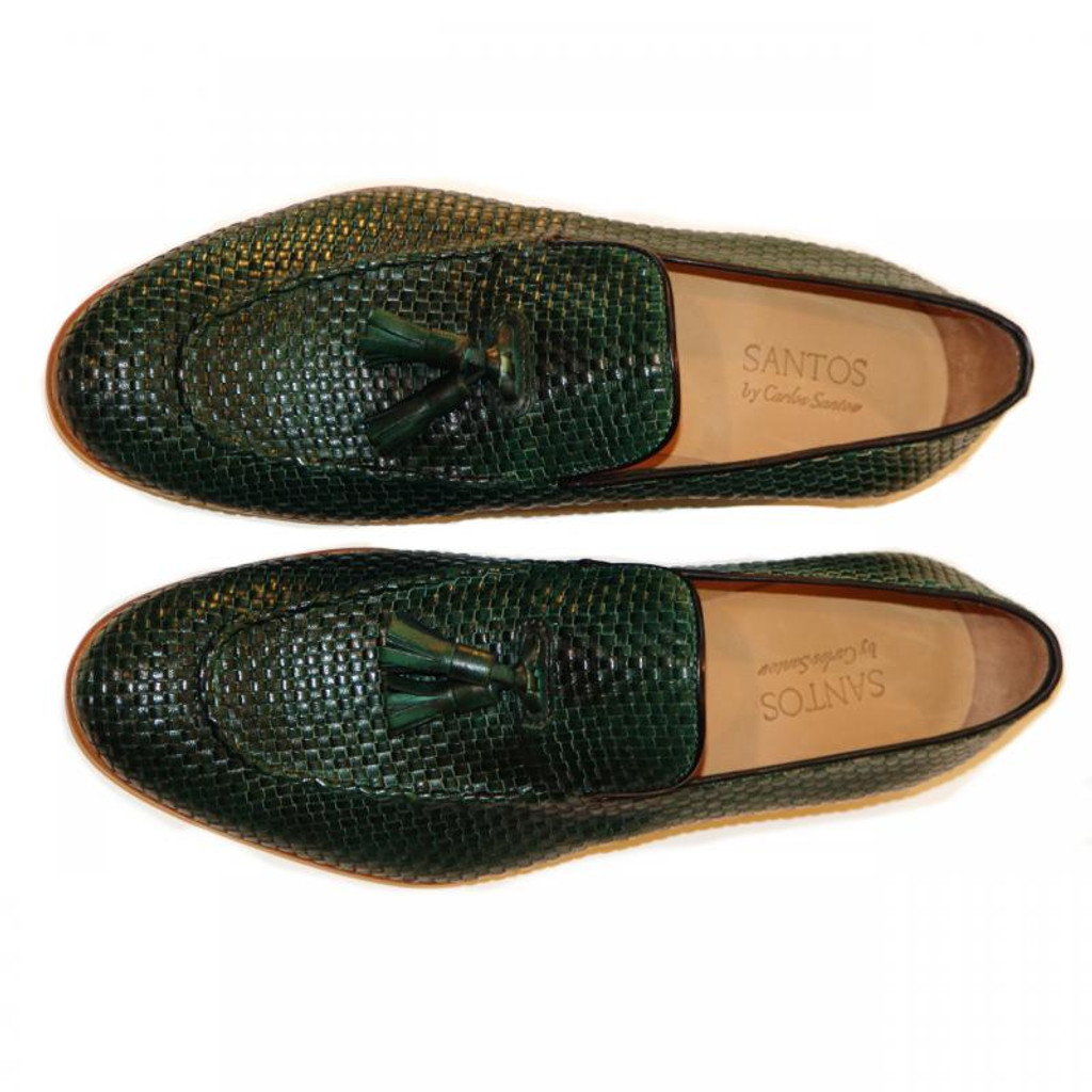Pelle Line Exclusive Rimini Hand Woven Tassel Loafer Green