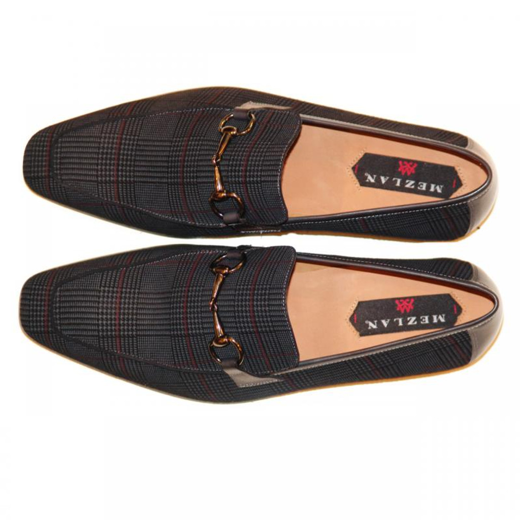 Pelle Line Exclusive Mezlan Torino Glen Printed Suede Bit Loafer Black