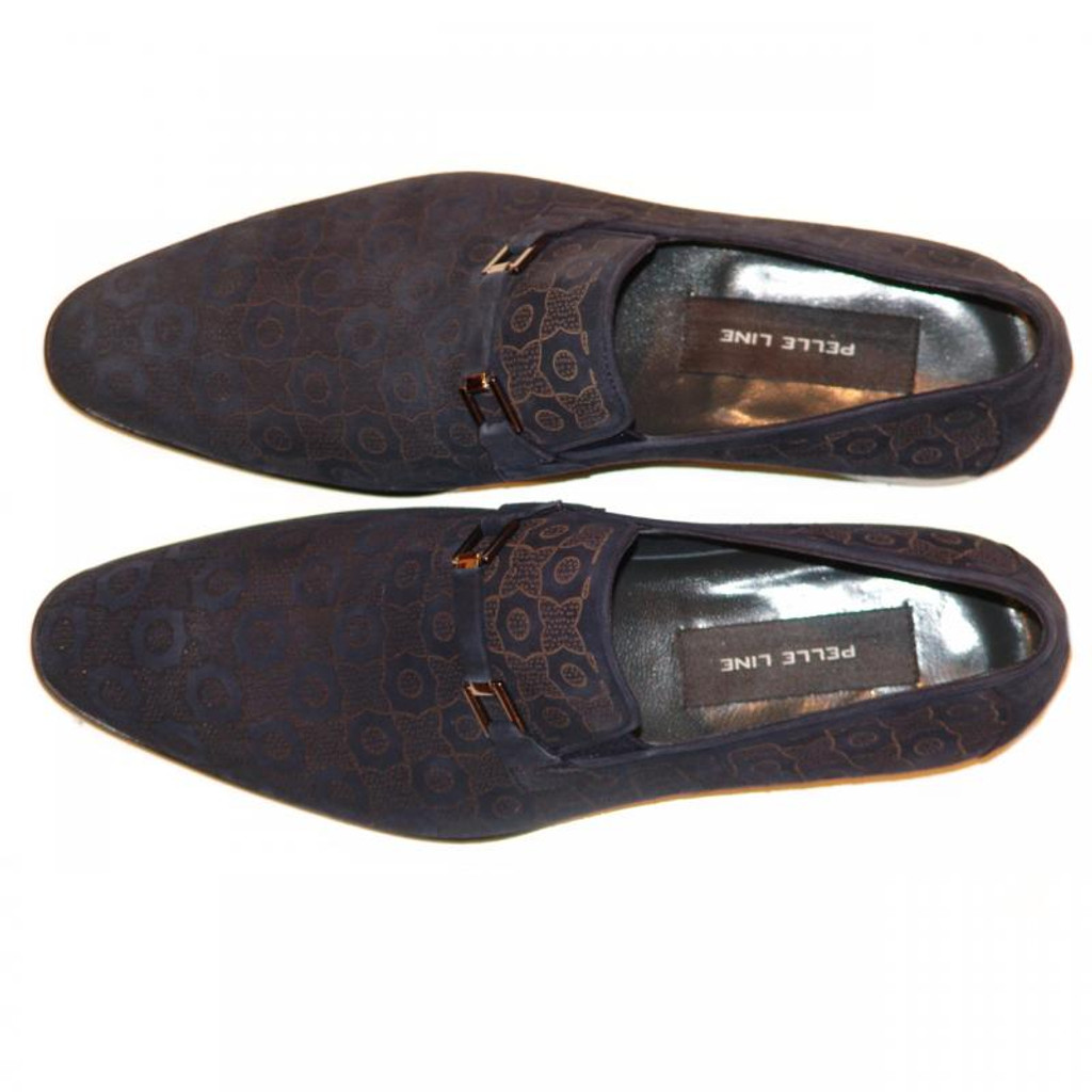 Pelle Line Exclusive 2998 Lazer Print Suede Loafer Navy