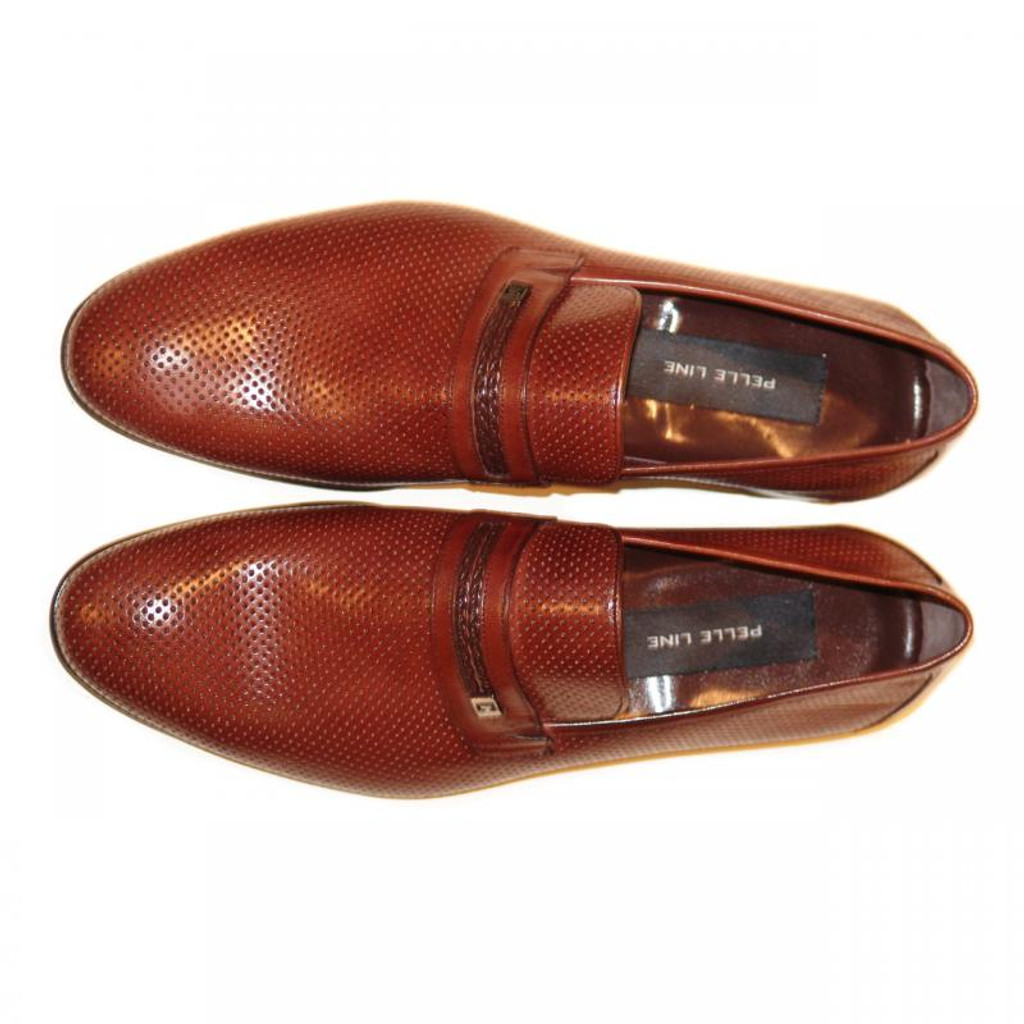 Pelle Line Exclusive 3802 Perforated Cap Toe Loafer Brown