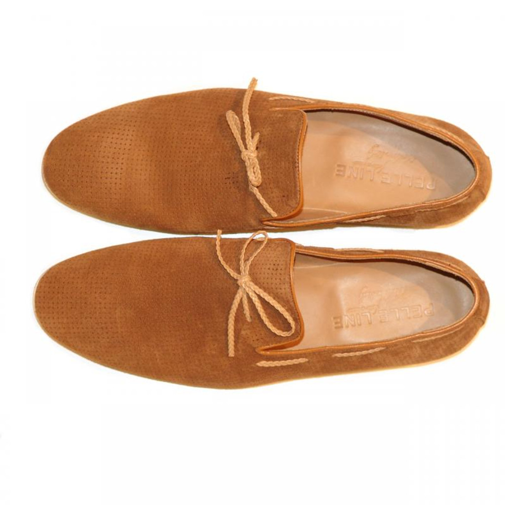 Pelle Line Exclusive 527 Perforated Suede Loafer Tan