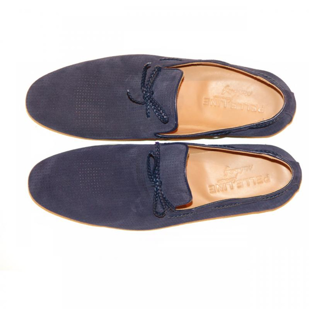 Pelle Line Exclusive 527 Perforated Suede Loafer Navy