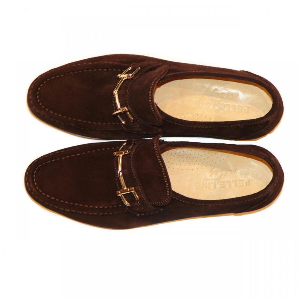 Pelle Line Exclusive 1310 Bit Buckle Loafer Brown Suede