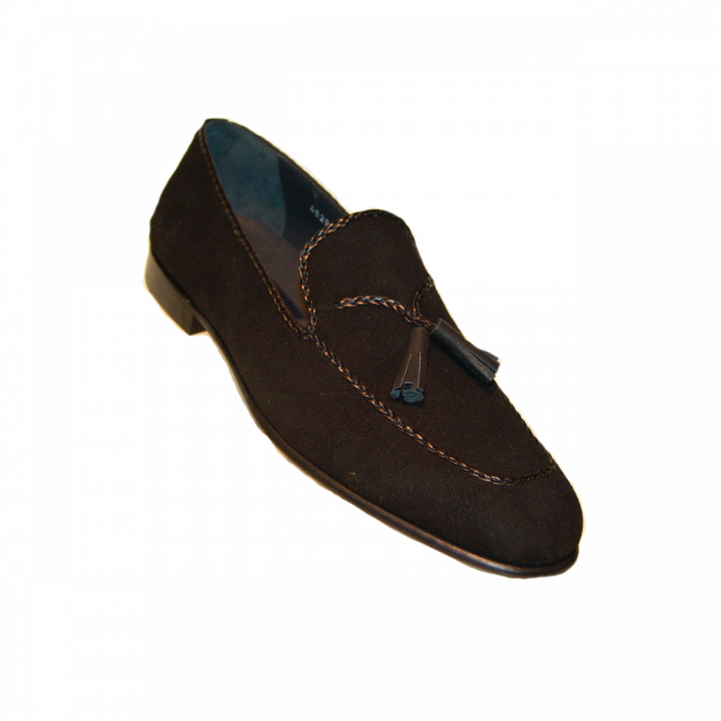 Corrente 4629  Tassel Loafer - Black Suede