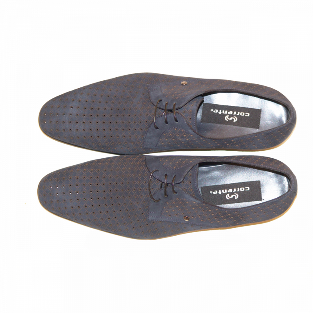 Corrente 2414 Nubak Perforated Lace Up Navy