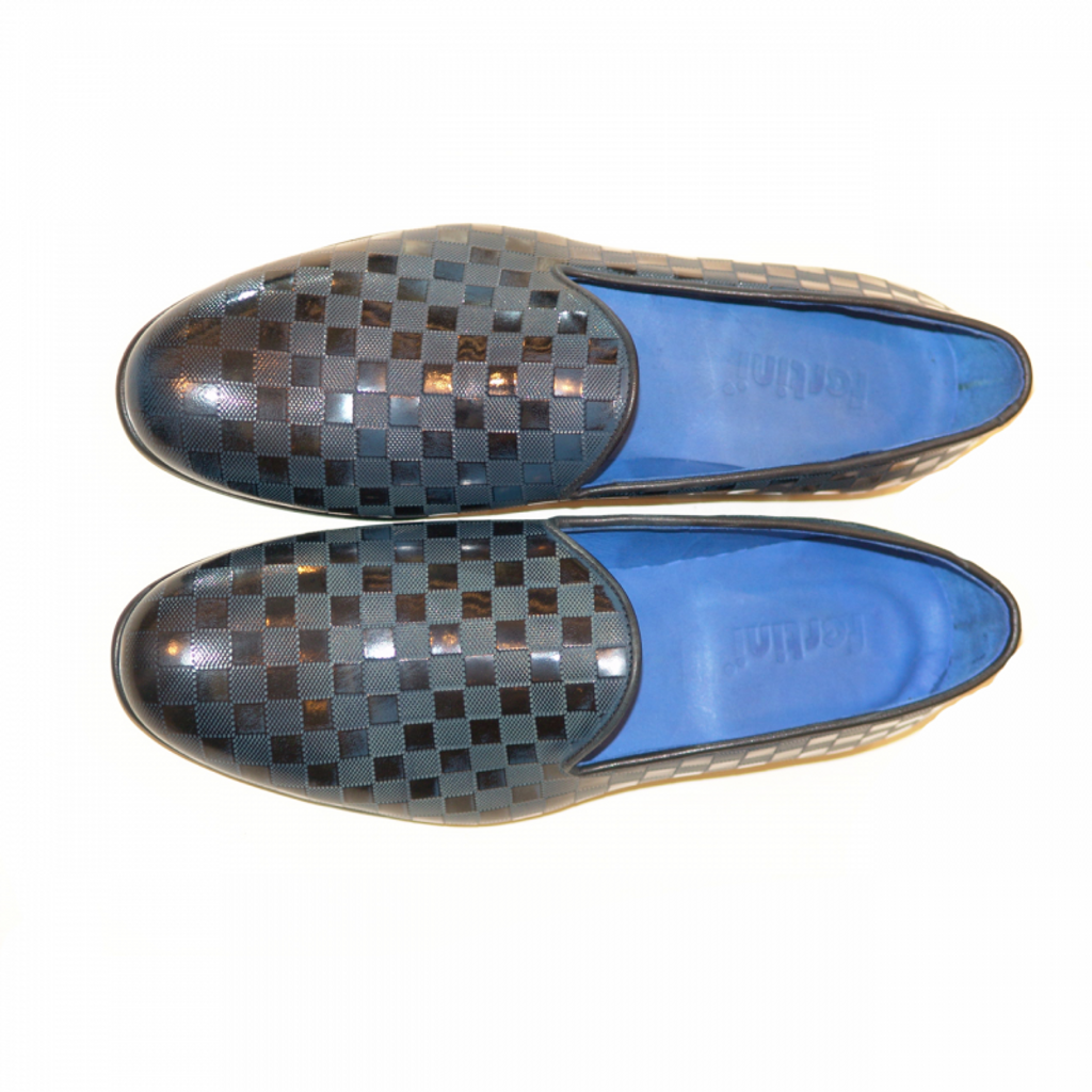 Pelle Line Exclusive 80200 Plain Loafer Navy LV print