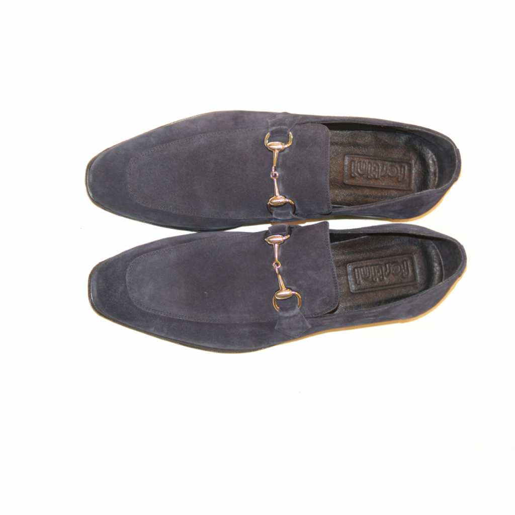Pelle Line Exclusive C152 Bit Buckle loafer Navy Suede
