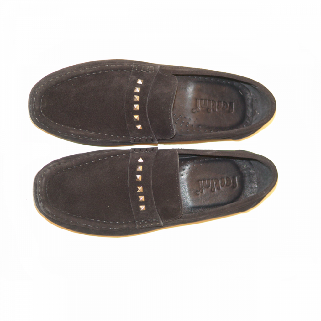 Pelle Line Exclusive 633 slipon with metal decoration Black suede