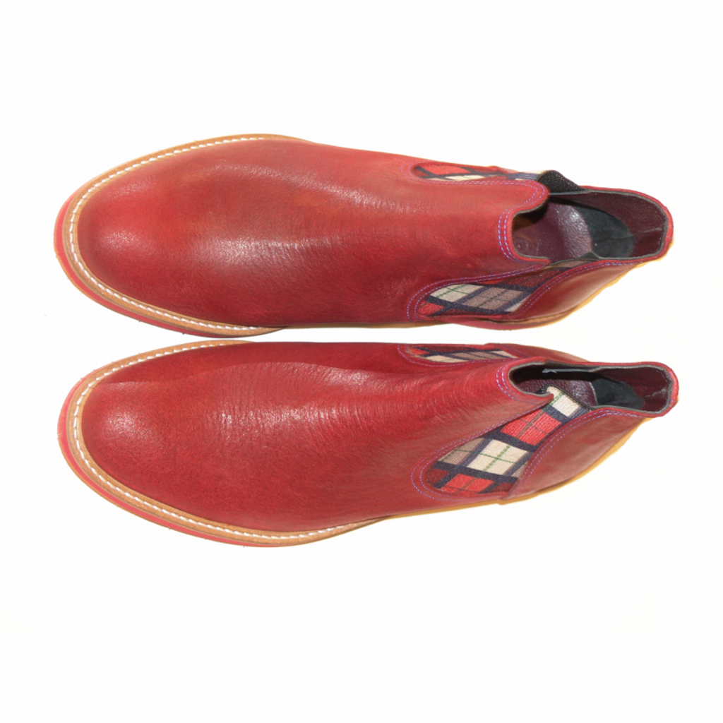 Pelle Line Exclusive oily leather chelsea boot with fashion elastic - Red