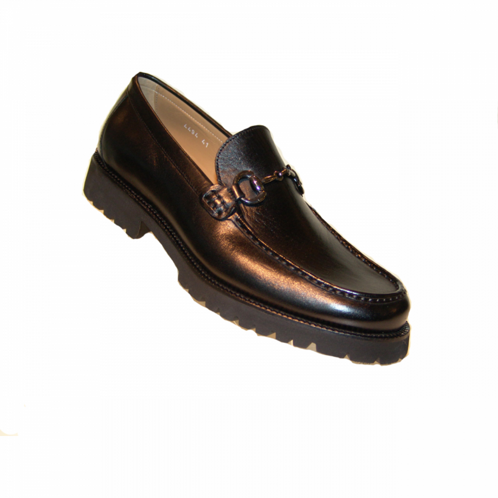 Corrente 4494 Buckle loafer with Lug Sole- Black