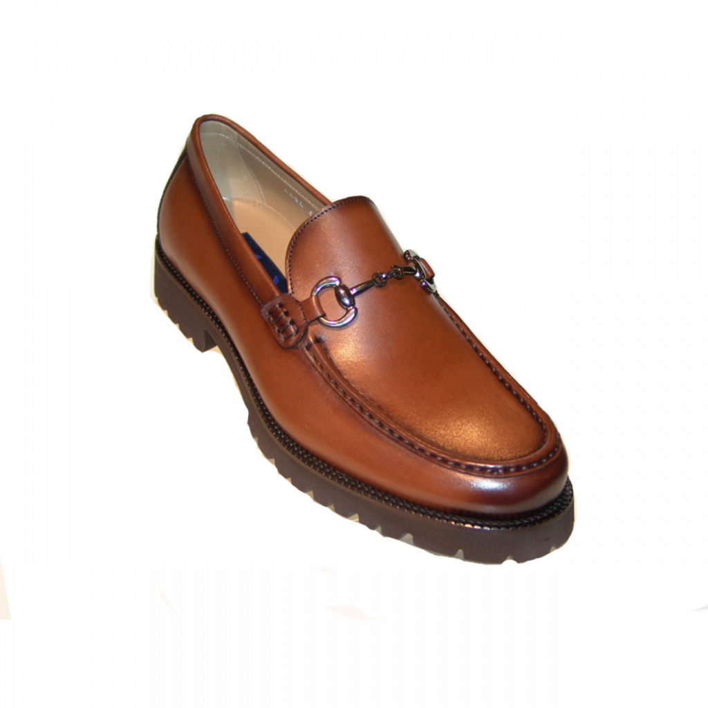 Corrente 4494 Buckle loafer with Lug Sole- Cognac