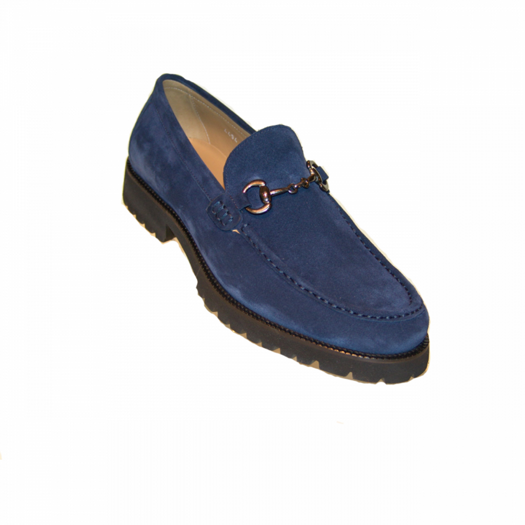 Corrente 4494 Buckle loafer with Lug Sole- Navy Suede