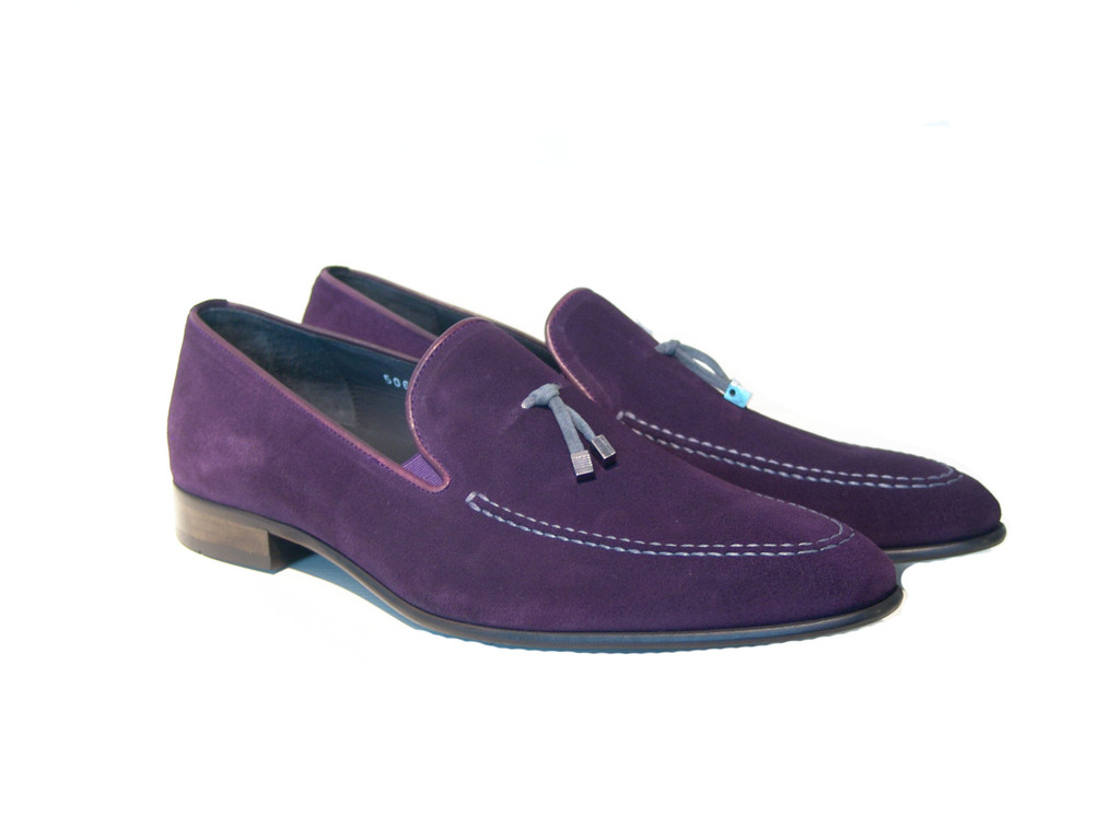 Corrente 5060 Suede Loafer with whit contrast strap- Purple/Grey