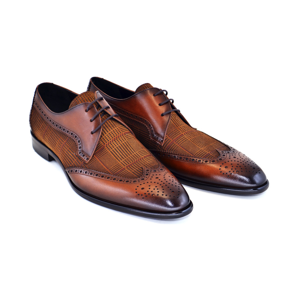 Corrente 3750- Wingtip with pattern suede vamp-Tabacco
