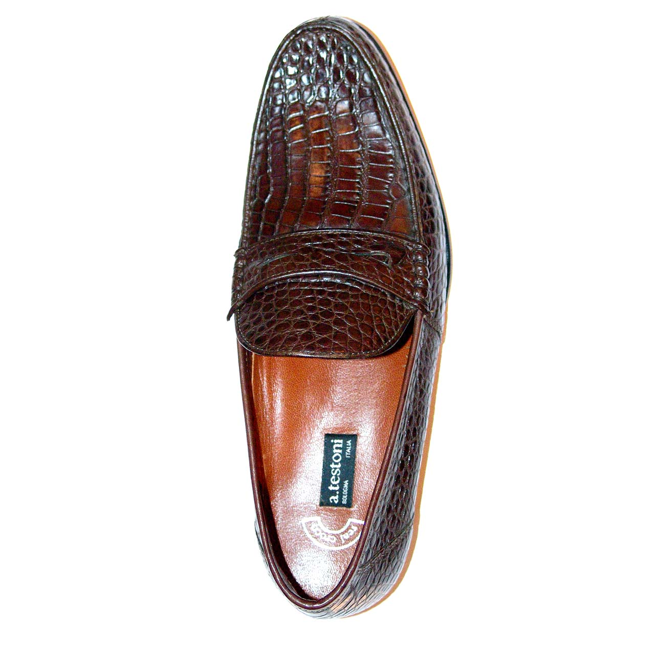 A. Testoni 60082 Alligator Penny Loafer Brown