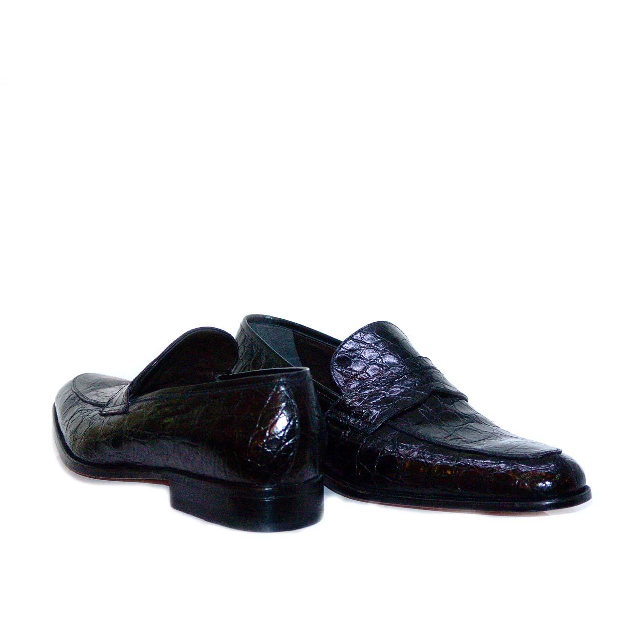 Moreschi 36630 Full Alligator Penny Loafer Black