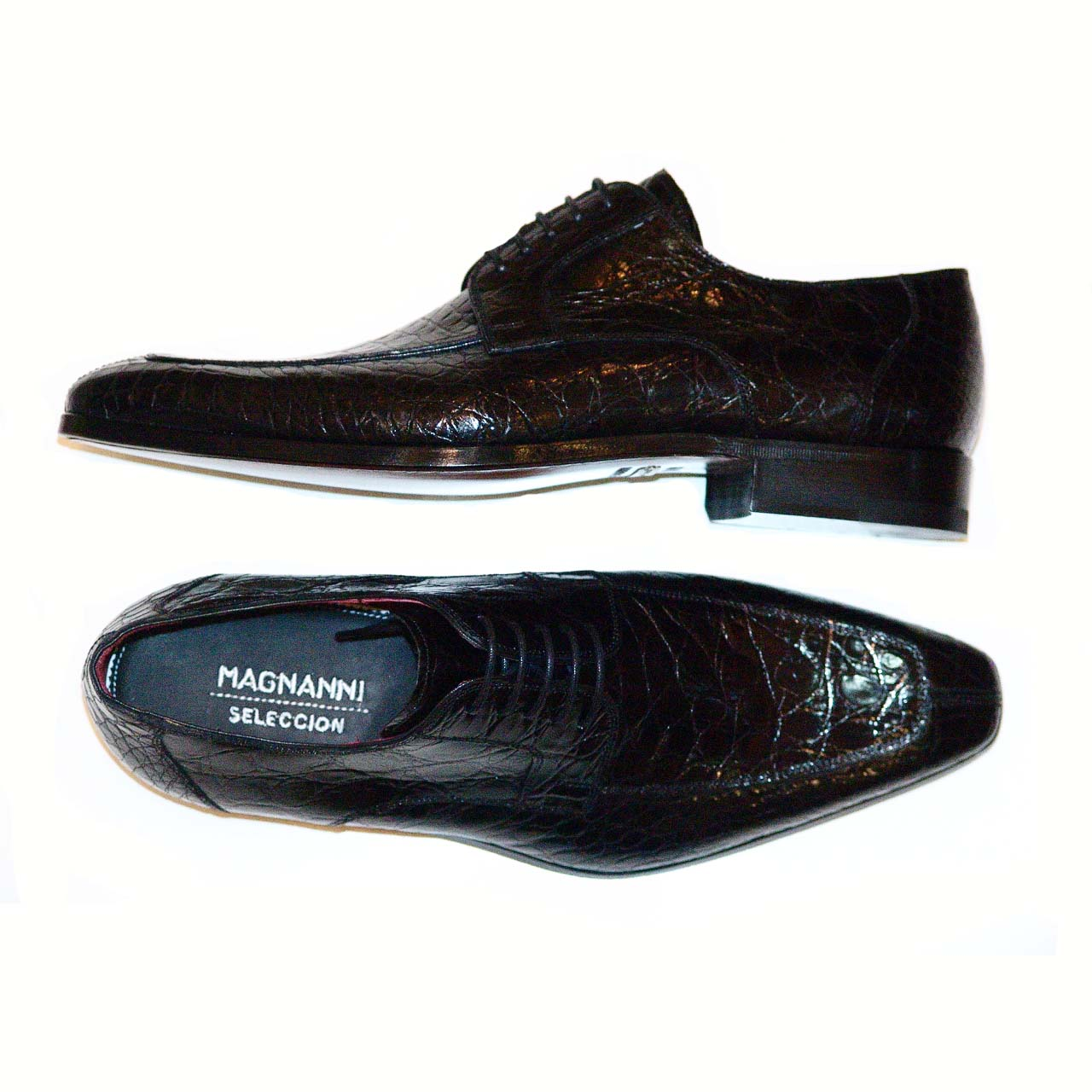 Magnanni Pascual Hand Burnished Antiqued Genuine Crocodile Black