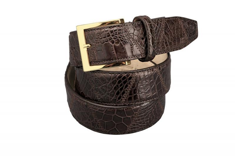 Fennix Genuine Crocodile Patchwork Belt 40Mm Brown