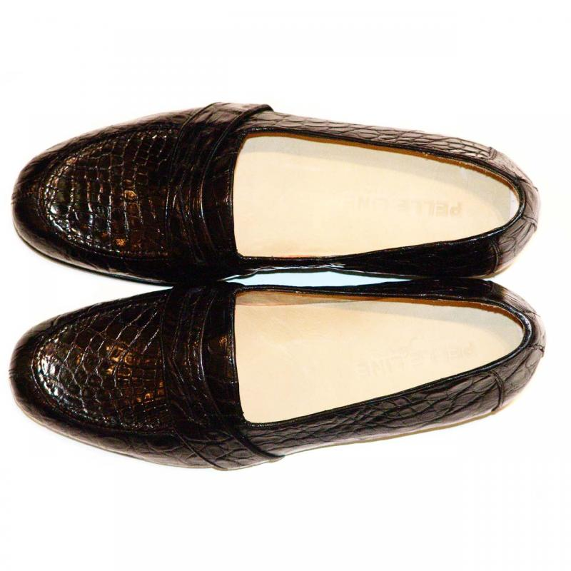 Pelleline Pisa Black Crocodile Low Cut Penny Loafer
