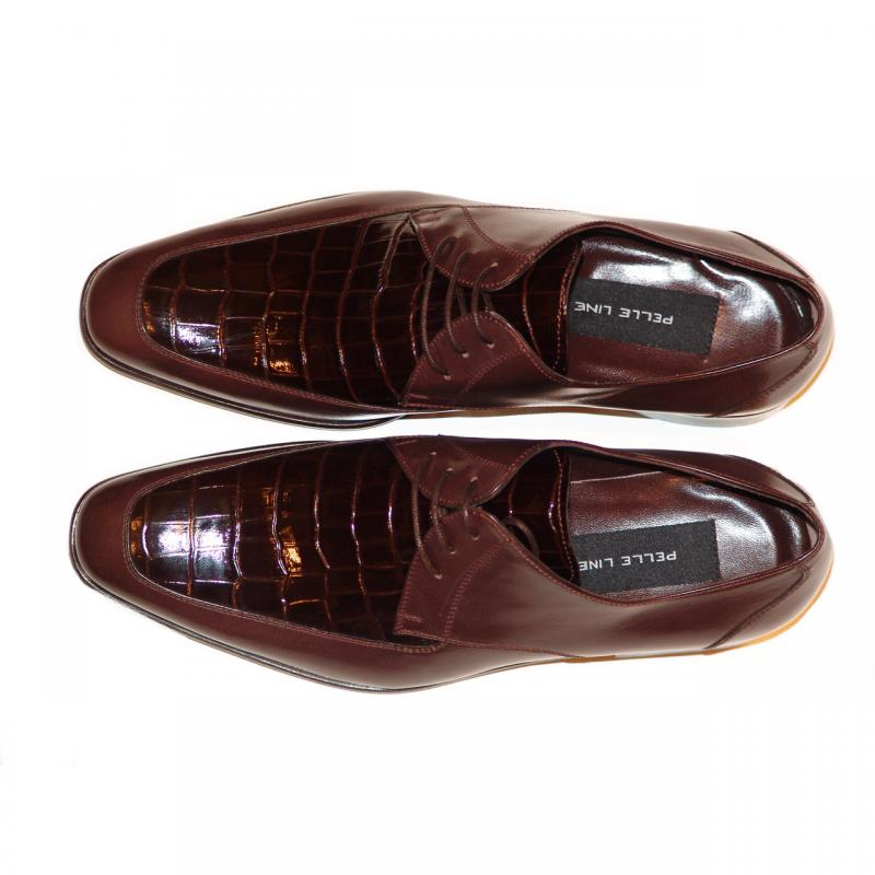 Pelle Line Exclusive 3106 Croco Leather Vamp Lace Up Brown