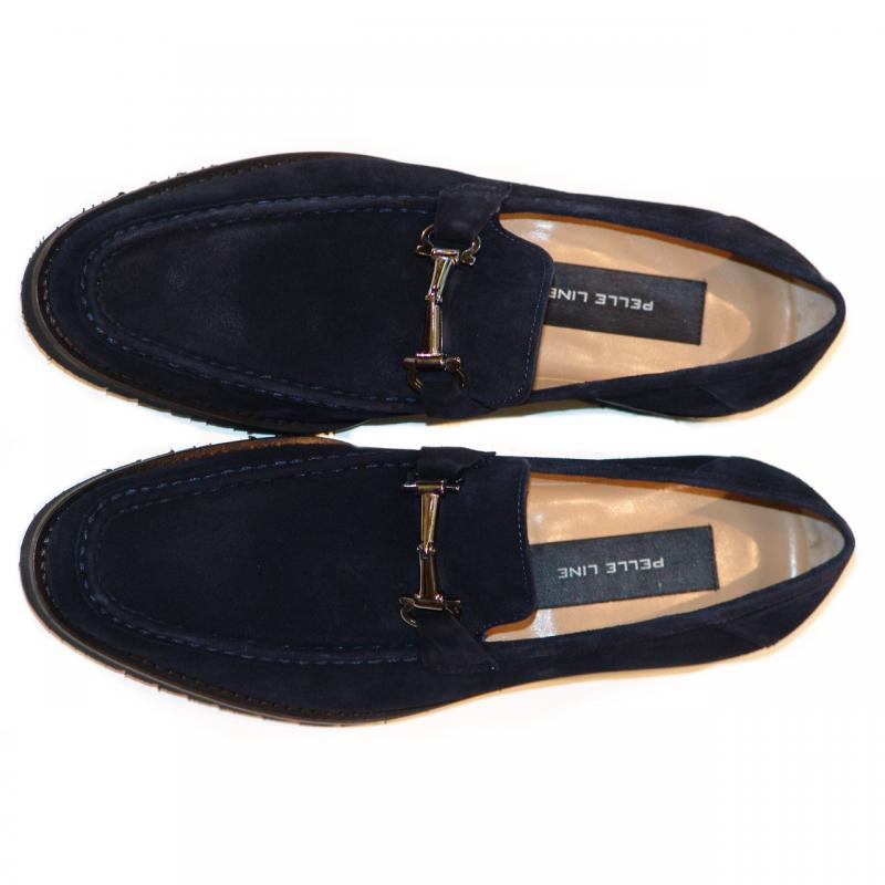 Pelle Line Exclusive 3452 Bit Buckle Loafer Navy Suede