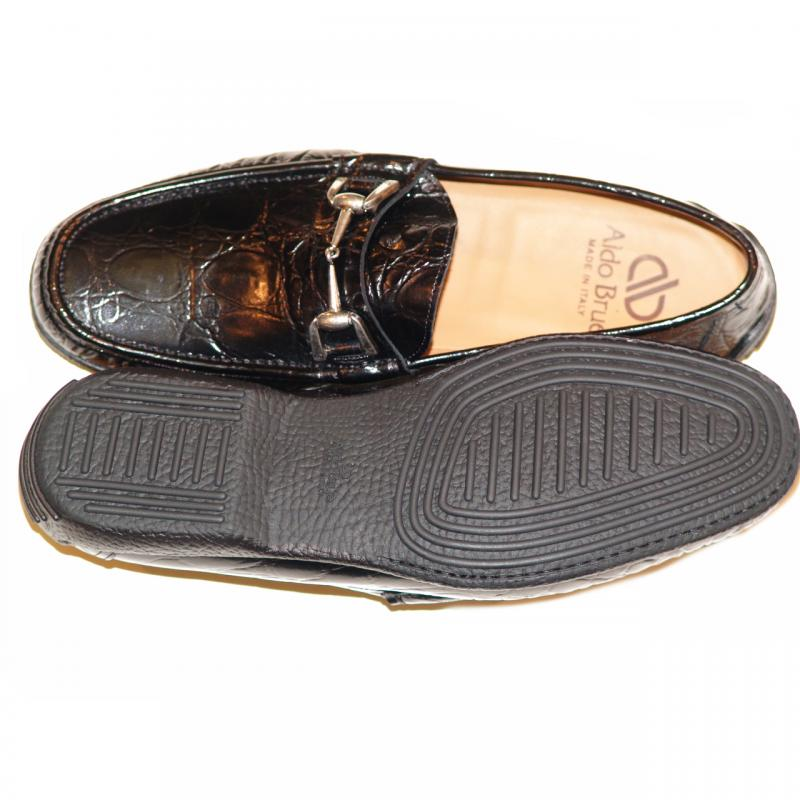 Aldo Brue 1326 Crocodile Leather Driving Shoe Black