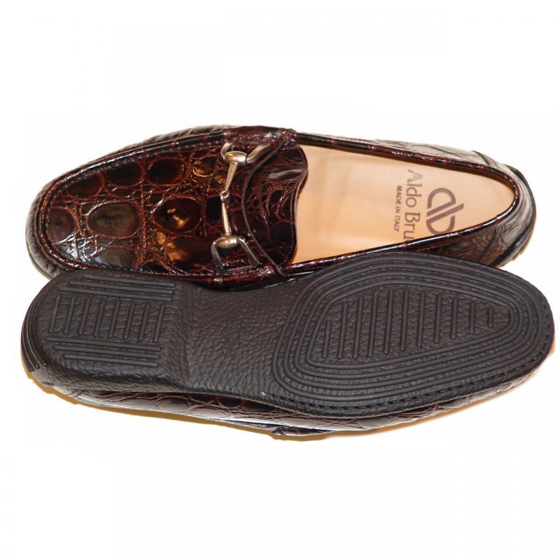 Aldo Brue 1326 Crocodile Leather Driving Shoe Brown
