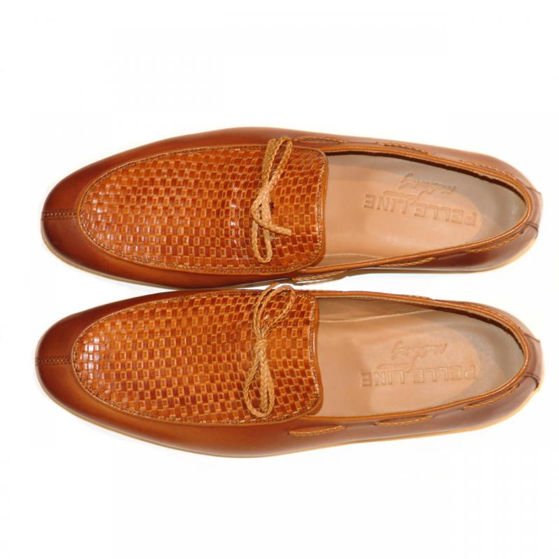 Pelle Line Exclusive 527L Woven Vamp Loafer Tan