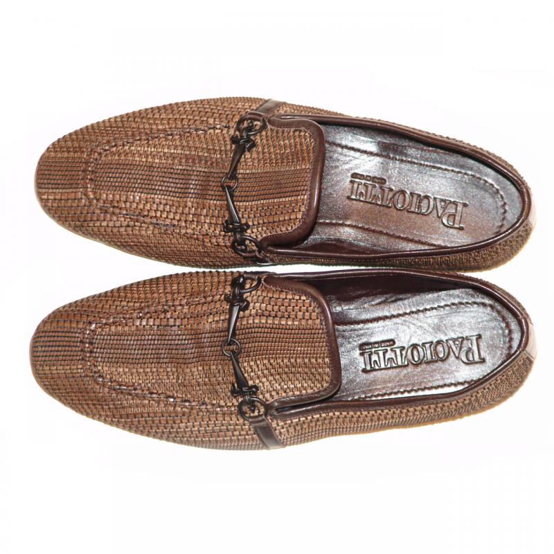 Cesare Paciotti 47763 Brown Leatherdesign Loafer With Dager Buckle