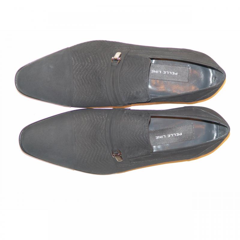 Pelle Line Exclusive 3435 Perforated Nubak Cap Toe Loafer Black